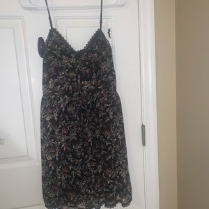 Black button up dress with flowers